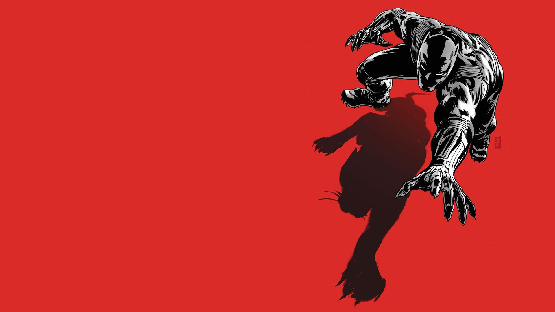Black panther red wallpaper