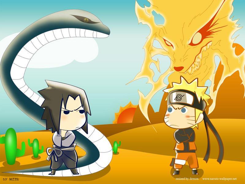 Chibi sasuke vs chibi naruto