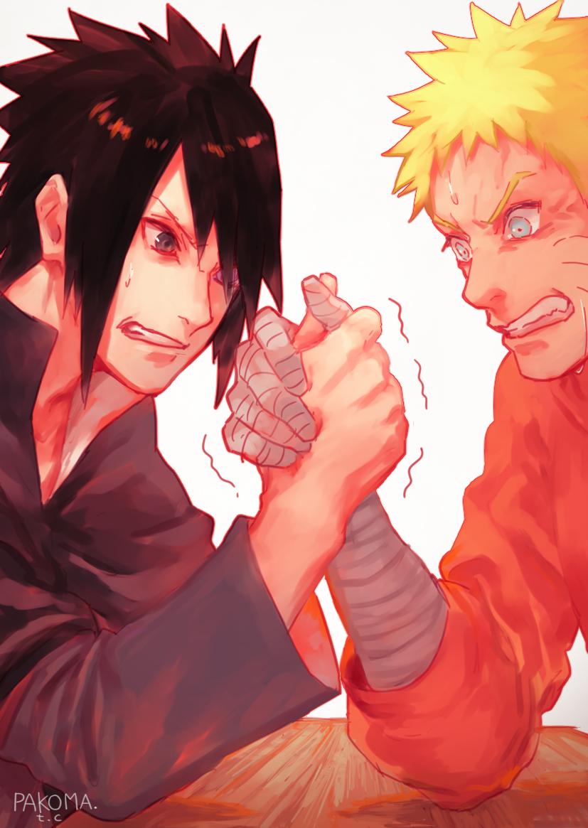 Sasuke vs naruto arm wrestling