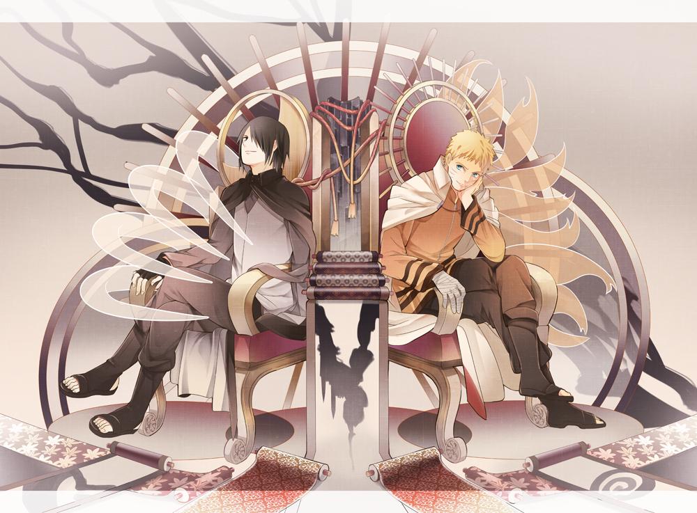 Sasuke vs naruto on chairs