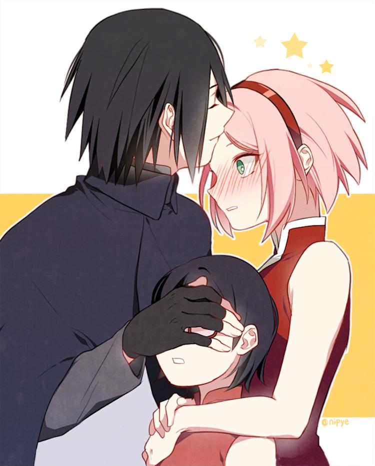 Sasuke with sarada sakura