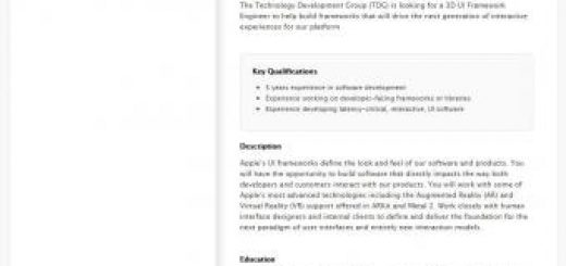 , Apple Seeking 3D UI Engineers As Work on Augmented Reality Headset Advances