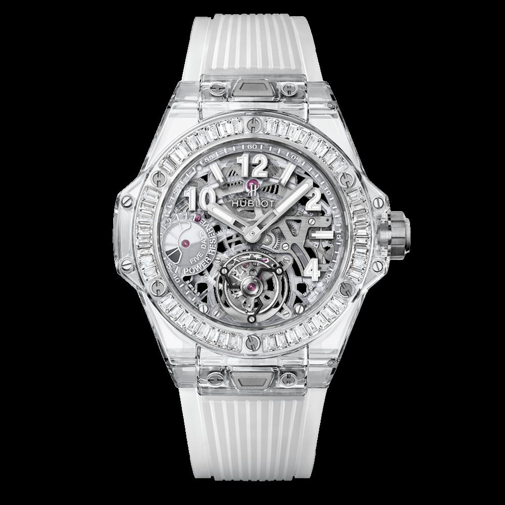 2018 big bang tourbillon power reserve 5 days sapphire baguettes watch