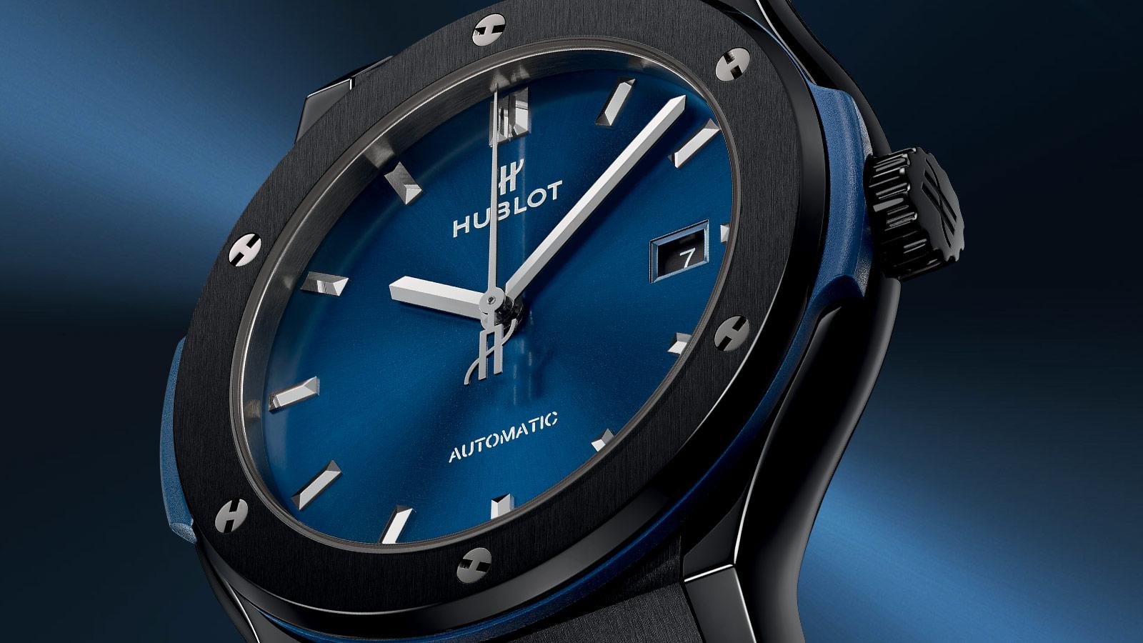 Classic fusion ceramic blue watch background 1