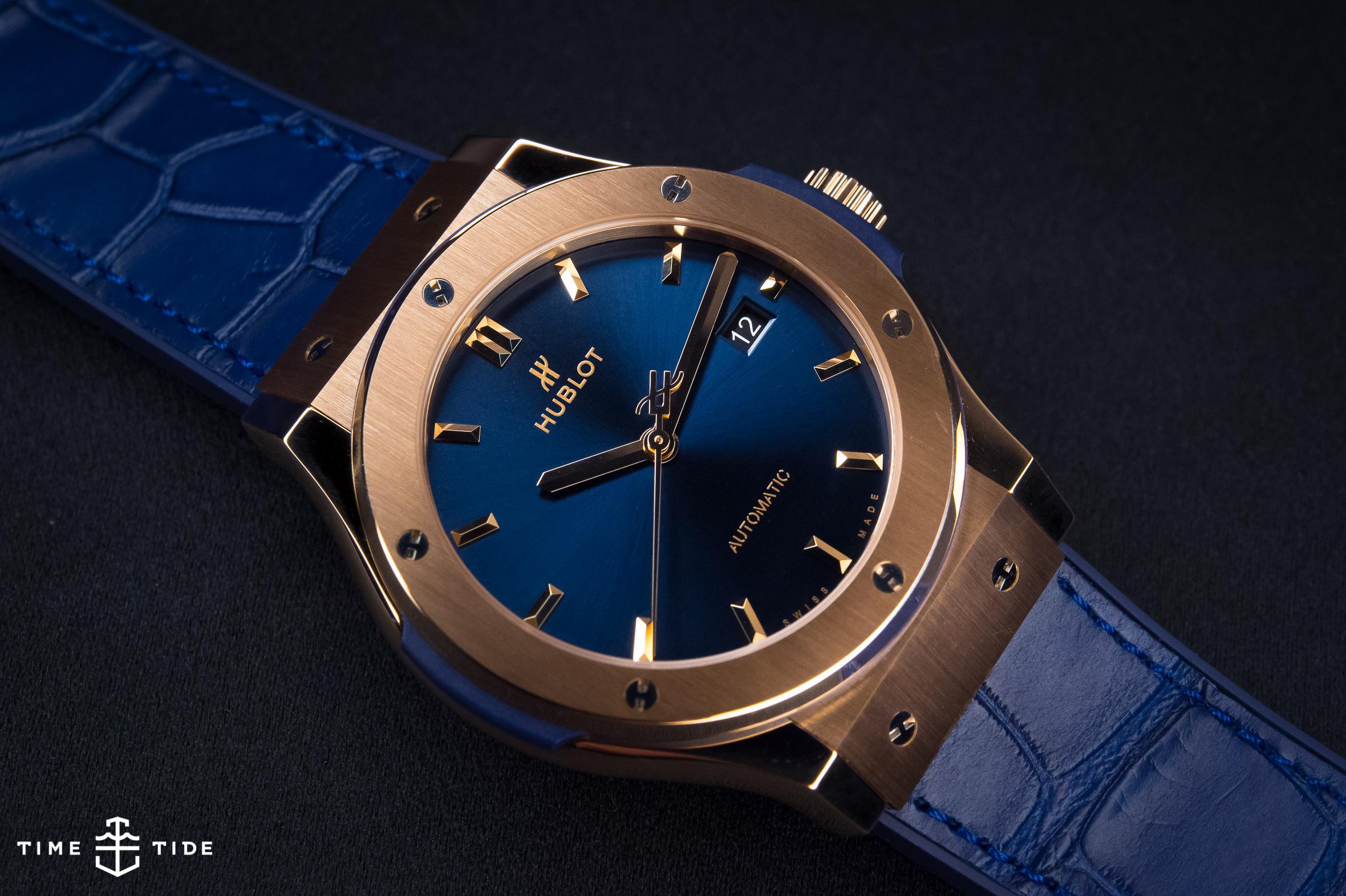 Classic fusion king gold blue hublot