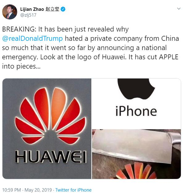 Pro-Huawei Chinese Diplomat Tweets Against Apple Using an