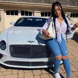 Jordyn Woods with her Bentley Car