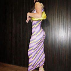 Charli damelio in purple yellow dress