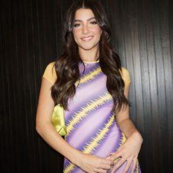 Charli damelio smirk in purple yellow dress