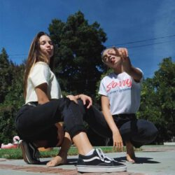 Kenzie wearing vans with her sister