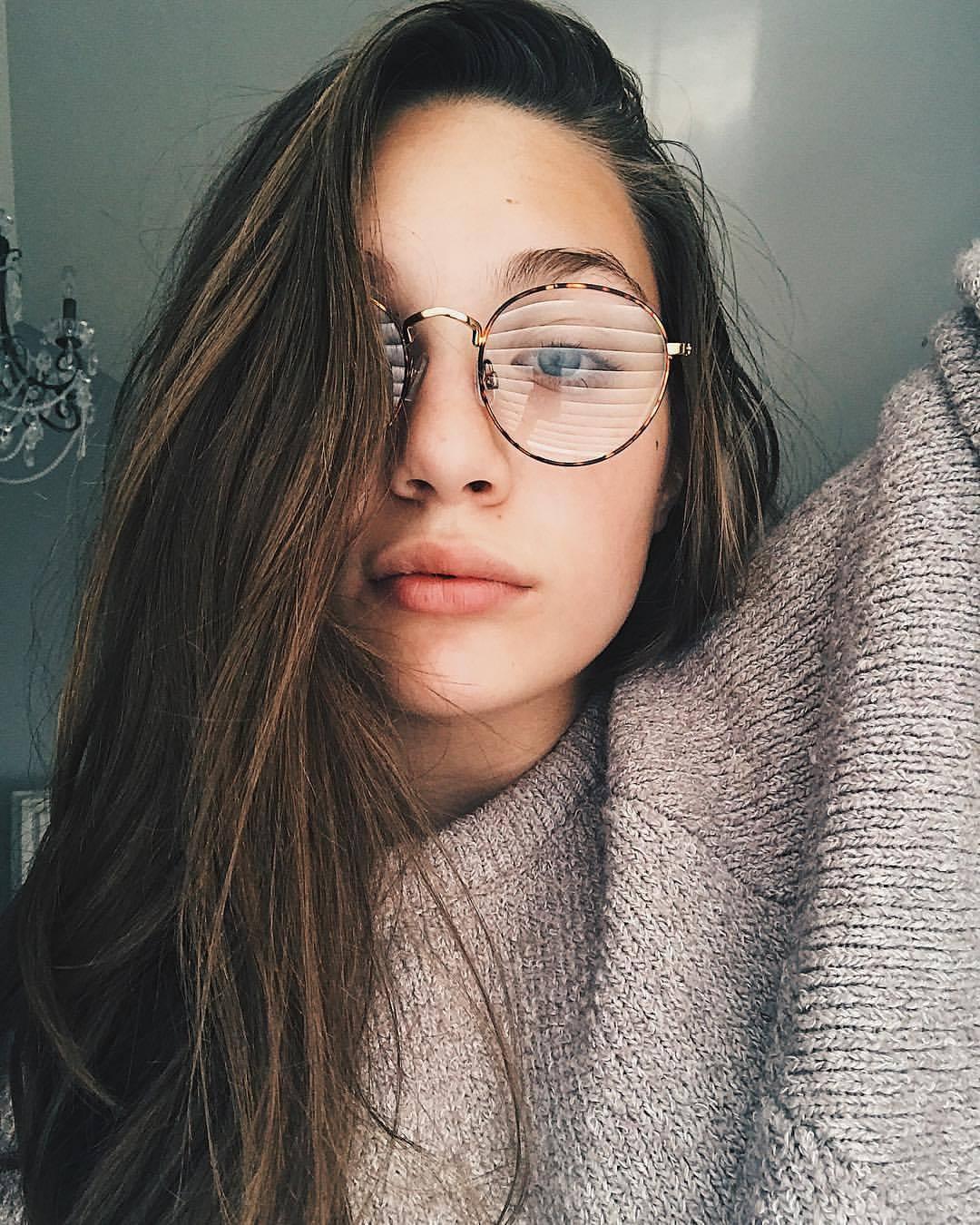 Maddie wearing glasses
