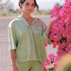 With light green outfit