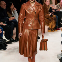 All brown outfit modeling