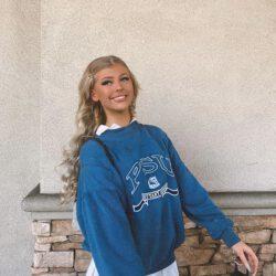 Loren wearing psu sweater