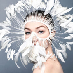 Modeling with feathers on face
