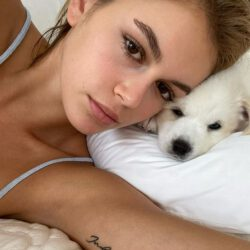 Kaia gerber right arm tattoo with dog
