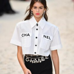 Modeling only chanel outfit black and white