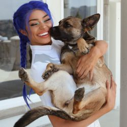 With her dog