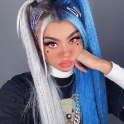 Blue silver hair