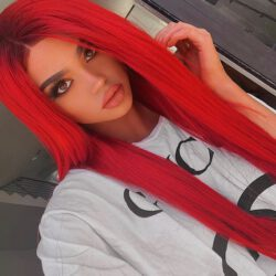 With red dark hair